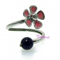Χειροποίητο δαχτυλίδι (Λουλούδι) από επιπλατινωμένο ασήμι 925ο με ημιπολύτιμες πέτρες (Σμάλτο). [IJ-010367]