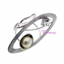 Χειροποίητο δαχτυλίδι (Οβάλ) από επιπλατινωμένο ασήμι 925ο με ημιπολύτιμες πέτρες (Πέρλες και Ζιργκόν). [IJ-010368]
