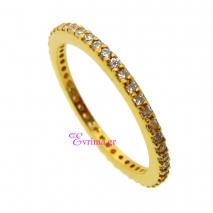 Χειροποίητο δαχτυλίδι (Βεράκι) από επιχρυσωμένο ασήμι 925ο με ημιπολύτιμες πέτρες (Ζιργκόν). [IJ-010375]