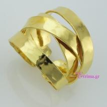 Χειροποίητο δαχτυλίδι (Πλεκτό) από επιχρυσωμένο ασήμι 925ο. [IJ-010376-G]
