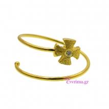 Χειροποίητο δαχτυλίδι (Σταυρός) από επιχρυσωμένο ασήμι 925ο με ημιπολύτιμες πέτρες (Ζιργκόν). [IJ-010378]