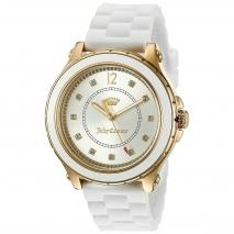 Juicy Couture ρολόι από χρυσό ανοξείδωτο ατσάλι με λευκό λουράκι σιλικόνης 1901416