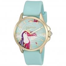 Juicy Couture ρολόι από χρυσό ανοξείδωτο ατσάλι με γαλάζιο λουράκι σιλικόνης 1901426
