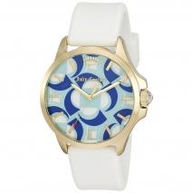 Juicy Couture ρολόι από χρυσό ανοξείδωτο ατσάλι με λευκό λουράκι σιλικόνης 1901427