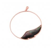 Oxette μενταγιόν από ροζ επιχρυσωμένο ασήμι 925ο με ημιπολύτιμες πέτρες (M.O.P.). 05X05-00439