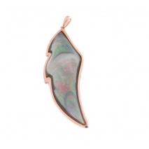 Oxette μενταγιόν από ροζ επιχρυσωμένο ασήμι 925ο με ημιπολύτιμες πέτρες (M.O.P.). 05X05-00442