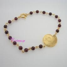 Χειροποίητο βραχιόλι από επιχρυσωμένο ασήμι 925ο με ημιπολύτιμες πέτρες (Αμέθυστος). IJ-030135
