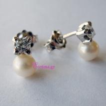 Χειροποίητα σκουλαρίκια από επιπλατινωμένο ασήμι 925ο με ημιπολύτιμες πέτρες (Πέρλες). IJ-020301