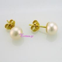 Χειροποίητα σκουλαρίκια από επιχρυσωμένο ασήμι 925ο με ημιπολύτιμες πέτρες (Πέρλες). IJ-020302