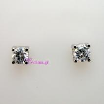 Χειροποίητα σκουλαρίκια από επιπλατινωμένο ασήμι 925ο με ημιπολύτιμες πέτρες (Ζιργκόν). IJ-020311