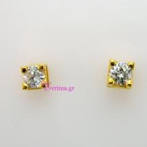 Χειροποίητα σκουλαρίκια από επιχρυσωμένο ασήμι 925ο με ημιπολύτιμες πέτρες (Ζιργκόν). IJ-020313