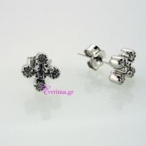 Χειροποίητα σκουλαρίκια (Σταυρός) από επιπλατινωμένο ασήμι 925ο με ημιπολύτιμες πέτρες (Ζιργκόν). IJ-020314
