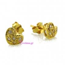 Χειροποίητα σκουλαρίκια (Καρδιά) από επιχρυσωμένο ασήμι 925ο με ημιπολύτιμες πέτρες (Ζιργκόν). IJ-020315