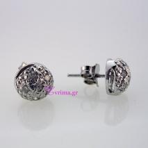 Χειροποίητα σκουλαρίκια από επιπλατινωμένο ασήμι 925ο με ημιπολύτιμες πέτρες (Ζιργκόν). IJ-020316