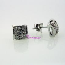 Χειροποίητα σκουλαρίκια από επιπλατινωμένο ασήμι 925ο με ημιπολύτιμες πέτρες (Ζιργκόν). IJ-020317