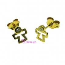Χειροποίητα σκουλαρίκια από επιχρυσωμένο ασήμι 925ο με ημιπολύτιμες πέτρες (Ζιργκόν). IJ-020320