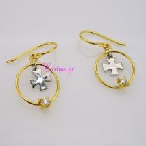 Χειροποίητα σκουλαρίκια (Κρίκοι) από επιχρυσωμένο ασήμι 925ο με ημιπολύτιμες πέτρες (Ζιργκόν). IJ-020323