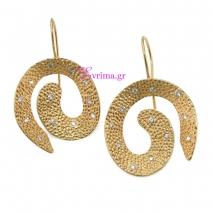 Χειροποίητα σκουλαρίκια από επιχρυσωμένο ασήμι 925ο με ημιπολύτιμες πέτρες (Ζιργκόν). IJ-020326