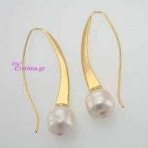 Χειροποίητα σκουλαρίκια από επιχρυσωμένο ασήμι 925ο με ημιπολύτιμες πέτρες (Πέρλες). IJ-020328