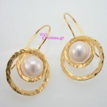 Χειροποίητα σκουλαρίκια από επιχρυσωμένο ασήμι 925ο με ημιπολύτιμες πέτρες (Πέρλες). IJ-020335