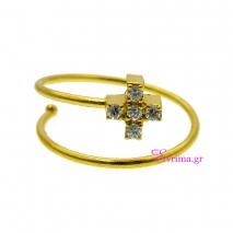 Χειροποίητο δαχτυλίδι (Σταυρός) από επιχρυσωμένο ασήμι 925ο με ημιπολύτιμες πέτρες (Ζιργκόν). IJ-010380
