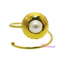 Χειροποίητο δαχτυλίδι από επιχρυσωμένο ασήμι 925ο με ημιπολύτιμες πέτρες (Πέρλες). IJ-010381
