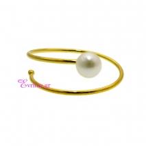 Χειροποίητο δαχτυλίδι από επιχρυσωμένο ασήμι 925ο με ημιπολύτιμες πέτρες (Πέρλες). IJ-010386