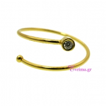 Χειροποίητο δαχτυλίδι από επιχρυσωμένο ασήμι 925ο με ημιπολύτιμες πέτρες (Ζιργκόν). IJ-010388