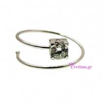 Χειροποίητο δαχτυλίδι από επιπλατινωμένο ασήμι 925ο με ημιπολύτιμες πέτρες (Ζιργκόν). IJ-010389