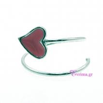 Χειροποίητο δαχτυλίδι (Καρδιά) από επιπλατινωμένο ασήμι 925ο με ημιπολύτιμες πέτρες (Σμάλτο). IJ-010390