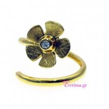 Χειροποίητο δαχτυλίδι (Λουλούδι) από επιχρυσωμένο ασήμι 925ο με ημιπολύτιμες πέτρες (Ζιργκόν). IJ-010392