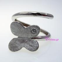 Χειροποίητο δαχτυλίδι (Πεταλούδα) από επιπλατινωμένο ασήμι 925ο με ημιπολύτιμες πέτρες (Ζιργκόν). IJ-010393