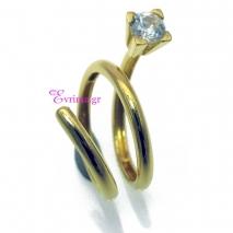 Χειροποίητο δαχτυλίδι από επιχρυσωμένο ασήμι 925ο με ημιπολύτιμες πέτρες (Ζιργκόν). IJ-010394