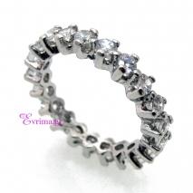 Χειροποίητο δαχτυλίδι από επιπλατινωμένο ασήμι 925ο με ημιπολύτιμες πέτρες (Ζιργκόν). IJ-010400