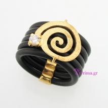 Χειροποίητο δαχτυλίδι από επιχρυσωμένο ασήμι 925ο με ημιπολύτιμες πέτρες (Ζιργκόν) και καουτσούκ. IJ-010404