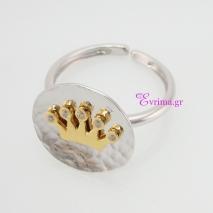 Χειροποίητο δαχτυλίδι (Στέμμα) από επιπλατινωμένο ασήμι 925ο με ημιπολύτιμες πέτρες (Ζιργκόν). IJ-010405
