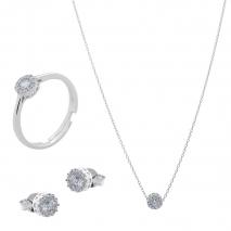 Σετ κοσμημάτων Prince Silvero (κολιέ, σκουλαρίκια και δαχτυλίδι) από επιπλατινωμένο ασήμι 925ο με ημιπολύτιμες πέτρες (ζιργκόν). JD-SE170-SET