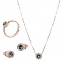 Σετ κοσμημάτων Prince Silvero (κολιέ, σκουλαρίκια και δαχτυλίδι) από ροζ επιχρυσωμένο ασήμι 925ο με ημιπολύτιμες πέτρες (ζιργκόν). JD-SE170G-R-SET