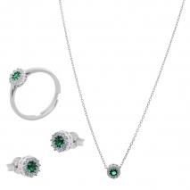 Σετ κοσμημάτων Prince Silvero (κολιέ, σκουλαρίκια και δαχτυλίδι) από επιπλατινωμένο ασήμι 925ο με ημιπολύτιμες πέτρες (ζιργκόν). JD-SE170G-SET