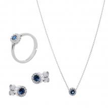 Σετ κοσμημάτων Prince Silvero (κολιέ, σκουλαρίκια και δαχτυλίδι) από επιπλατινωμένο ασήμι 925ο με ημιπολύτιμες πέτρες (ζιργκόν). JD-SE170M-SET