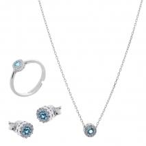 Σετ κοσμημάτων Prince Silvero (κολιέ, σκουλαρίκια και δαχτυλίδι) από επιπλατινωμένο ασήμι 925ο με ημιπολύτιμες πέτρες (ζιργκόν). JD-SE170Q-SET