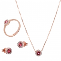 Σετ κοσμημάτων Prince Silvero (κολιέ, σκουλαρίκια και δαχτυλίδι) από ροζ επιχρυσωμένο ασήμι 925ο με ημιπολύτιμες πέτρες (ζιργκόν). JD-SE170R-R-SET