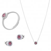 Σετ κοσμημάτων Prince Silvero (κολιέ, σκουλαρίκια και δαχτυλίδι) από επιπλατινωμένο ασήμι 925ο με ημιπολύτιμες πέτρες (ζιργκόν). JD-SE170R-SET