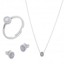 Σετ κοσμημάτων Prince Silvero (κολιέ, σκουλαρίκια και δαχτυλίδι) από επιπλατινωμένο ασήμι 925ο με ημιπολύτιμες πέτρες (ζιργκόν). JD-SE171-SET