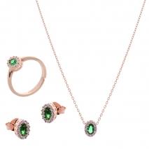 Σετ κοσμημάτων Prince Silvero (κολιέ, σκουλαρίκια και δαχτυλίδι) από ροζ επιχρυσωμένο ασήμι 925ο με ημιπολύτιμες πέτρες (ζιργκόν). JD-SE171G-R-SET