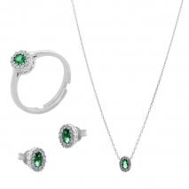 Σετ κοσμημάτων Prince Silvero (κολιέ, σκουλαρίκια και δαχτυλίδι) από επιπλατινωμένο ασήμι 925ο με ημιπολύτιμες πέτρες (ζιργκόν). JD-SE171G-SET