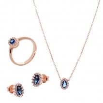 Σετ κοσμημάτων Prince Silvero (κολιέ, σκουλαρίκια και δαχτυλίδι) από ροζ επιχρυσωμένο ασήμι 925ο με ημιπολύτιμες πέτρες (ζιργκόν). JD-SE171M-R-SET