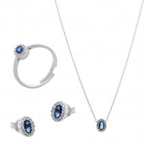 Σετ κοσμημάτων Prince Silvero (κολιέ, σκουλαρίκια και δαχτυλίδι) από επιπλατινωμένο ασήμι 925ο με ημιπολύτιμες πέτρες (ζιργκόν). JD-SE171M-SET