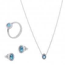 Σετ κοσμημάτων Prince Silvero (κολιέ, σκουλαρίκια και δαχτυλίδι) από επιπλατινωμένο ασήμι 925ο με ημιπολύτιμες πέτρες (ζιργκόν). JD-SE171Q-SET