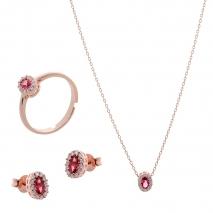 Σετ κοσμημάτων Prince Silvero (κολιέ, σκουλαρίκια και δαχτυλίδι) από ροζ επιχρυσωμένο ασήμι 925ο με ημιπολύτιμες πέτρες (ζιργκόν). JD-SE171R-R-SET